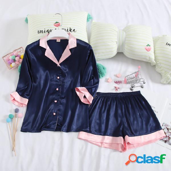 Seção fina de manga curta calções de pijamas das mulheres temporada de seda de gelo de duas peças terno bonito