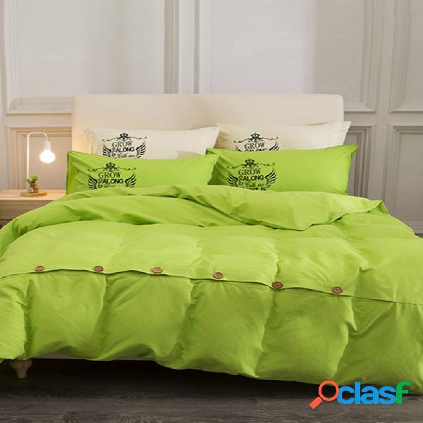 11 cores 4 peças de roupa de cama de botão de algodão fronhas de cama twin full queen king size