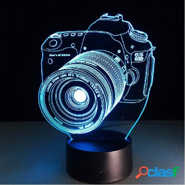 Loskii dl-3d7 câmera digital 3d led lights colorful touch night light prenda de natal