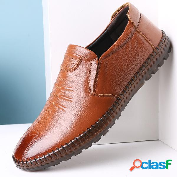 Homens couro genuíno costura à mão antiderrapante soft sapatos casuais com sola