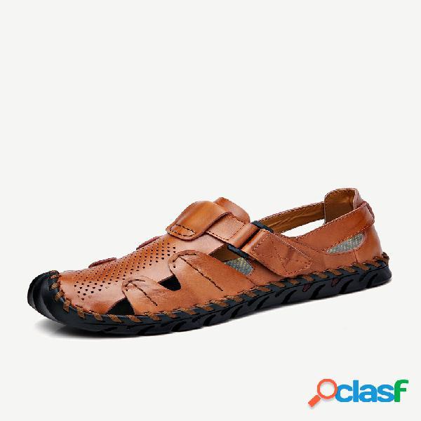Homens mão costura antiderrapante anti-colisão grande tamanho de couro praia sandálias