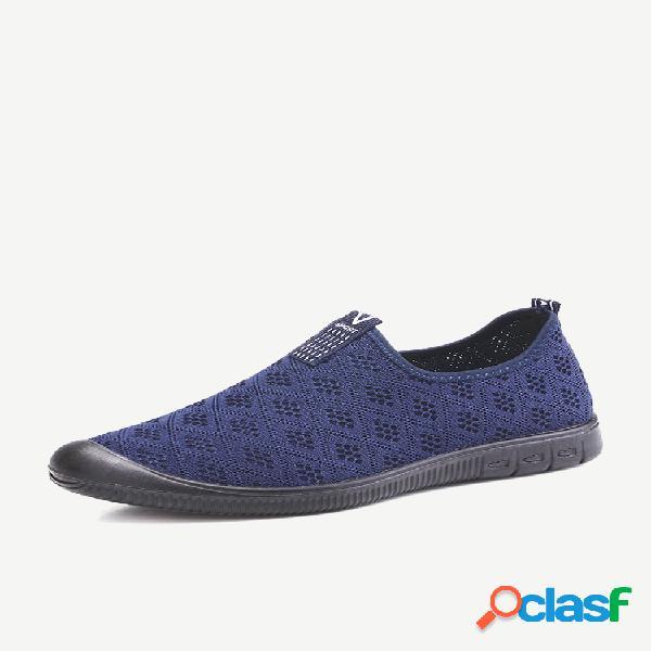 Homens tecido de malha respirável confortável soft deslizamento em sapatilhas casuais