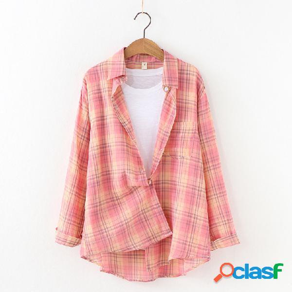 Turn-down collar plaid xadrez loose casual manga comprida camisa