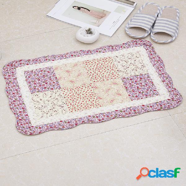 100% algodão floral estilo pastoral tapetes acolchoados forte absorção de água casa banheiro tapete