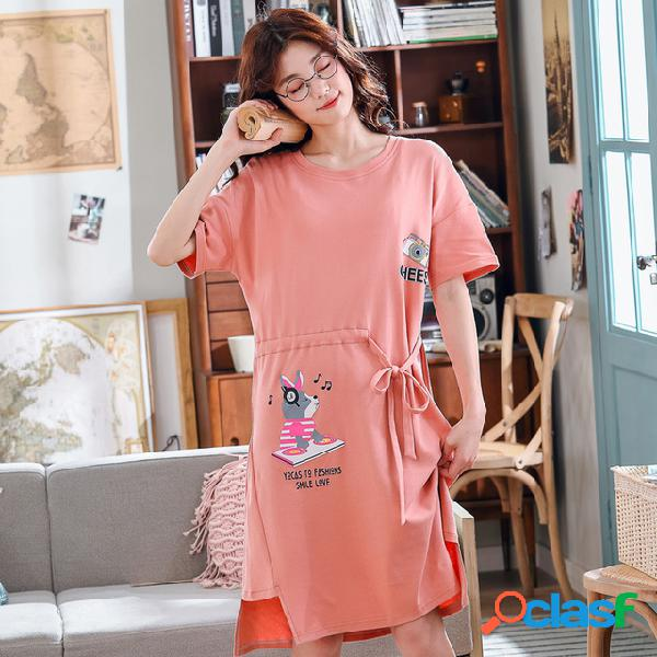 Camisola das mulheres temporada de algodão de manga curta seção fina pijamas longo bonito dos desenhos animados home service dress