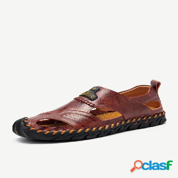 Grande tamanho homens mão stithcing fechado dedo do pé ao ar livre sandálias de couro