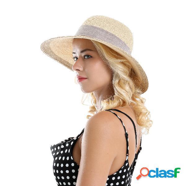 Mulher de cor sólida de algodão com linho arco de viagem de férias sol mar chapéu