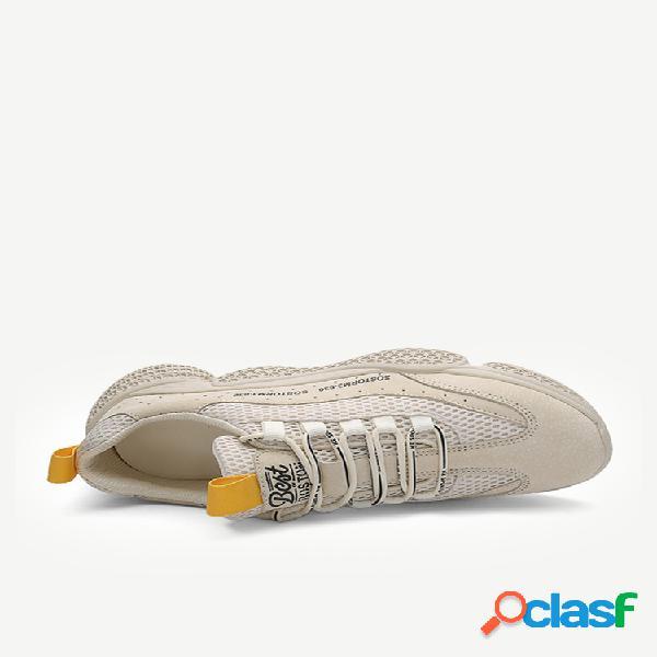 Sapatas dos esportes que funcionam respirável ao ar livre dos homens sapatos de couro usam malha cabeça redonda dos homens sapatos