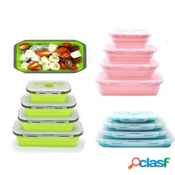 Silicone dobrável bento caixa almoço portátil dobrável caixa para alimentos louça recipiente de alimentos