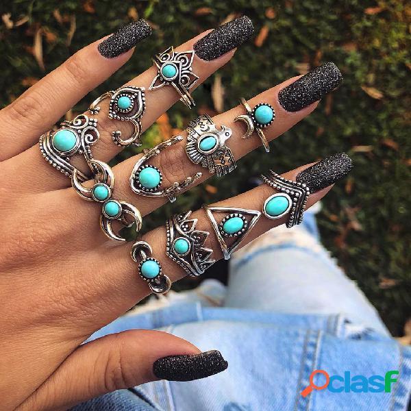 Vintage geométrica turquesa anéis set oco triângulo lua knuckle anéis bohemian jóias para as mulheres