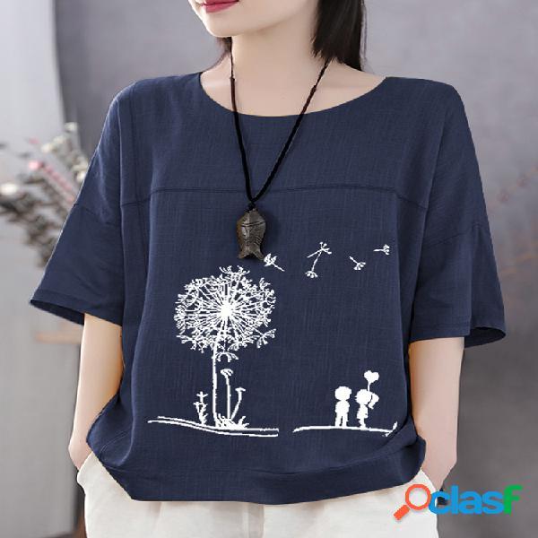 Camiseta de algodão de manga curta casual estampado de flores de verão