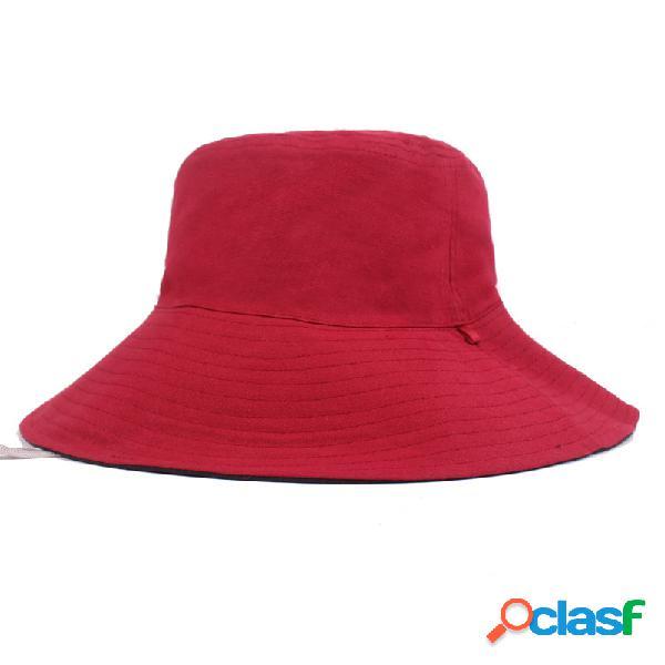Cor sólida uv tampa de proteção dupla face útil pescador chapéu balde chapéu com corda
