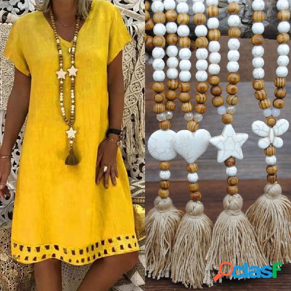 Geométrica étnica pingente colar longo borlas feitas à mão contas de cordão colar longo joias da boêmia