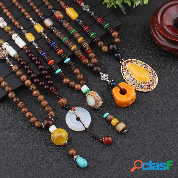 Geométrica étnica pingente colar longo jade ágata feitos à mão colar longo de contas