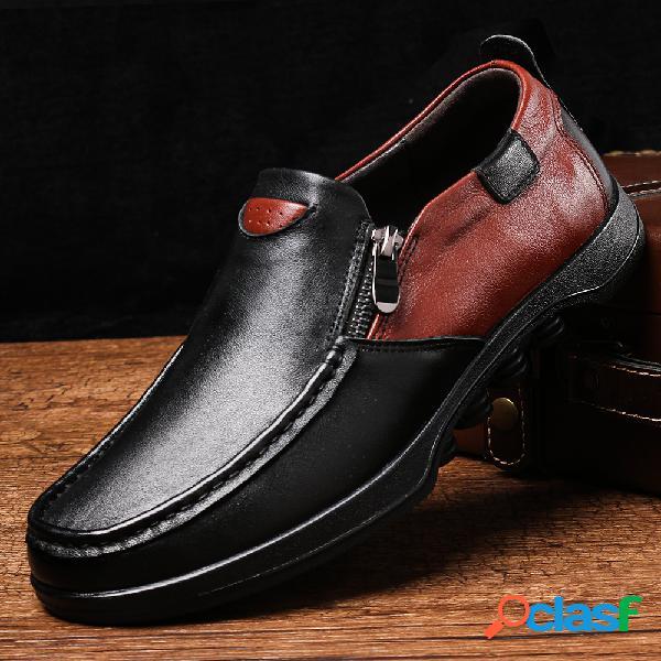 Menico homens couro genuíno antiderrapante cor bloqueio soft sola sapatos casuais