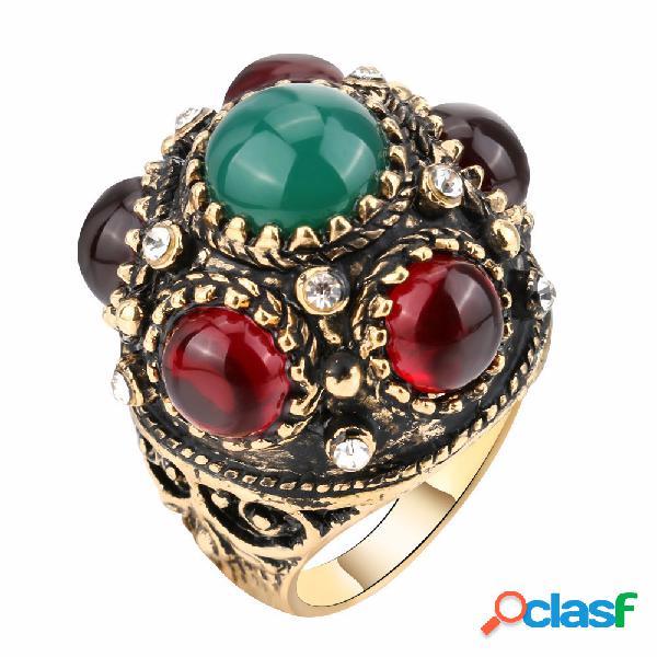 Moda anel de dedo esférico cristal irregular geométrica banhado a ouro anéis jóias étnicas para as mulheres