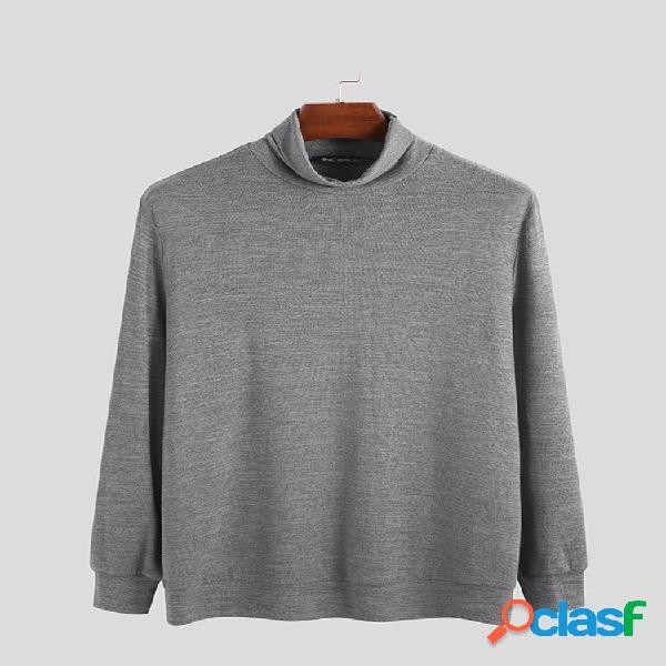 Suéteres de gola alta de cor sólida estilo breve masculino