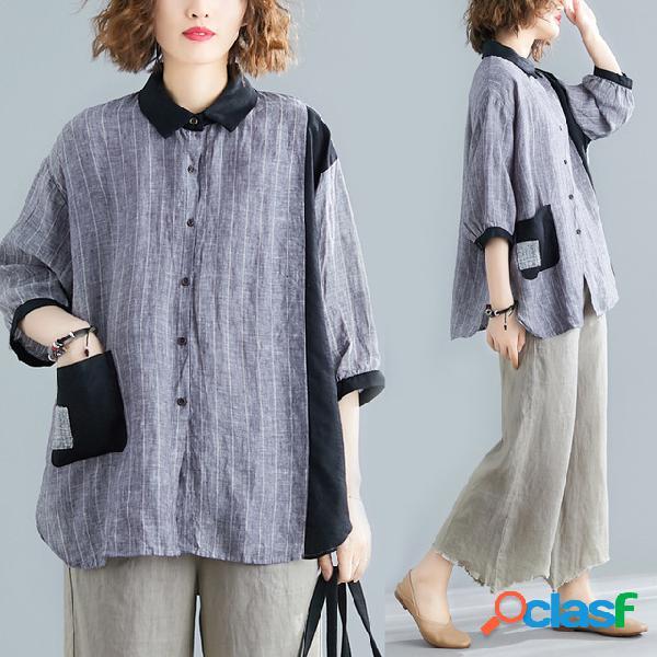 Tamanho grande algodão solto e linho costura listrada camisa gordura mm manga de sete pontos cardigan cor camisa