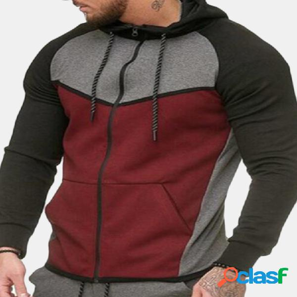 100% algodão costura cor hoodies manga comprida com capuz zip-up