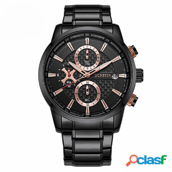 Homens de negócios de aço completa relógios data de exibição à prova d 'água relógio de quartzo relógio masculino de luxo