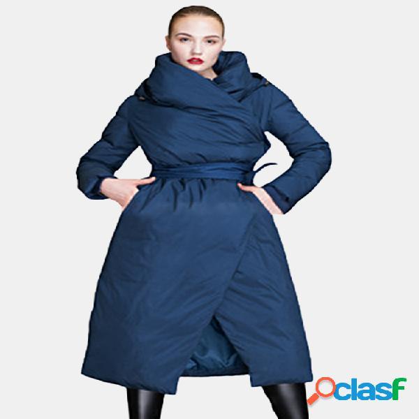 Casual cor sólida com capuz longo casaco para mulheres