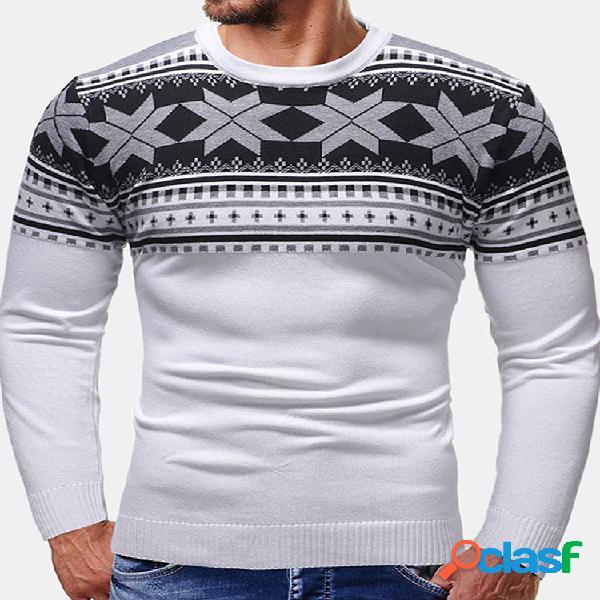 Mens natal floco de neve impressão patchwork manga comprida gola blusas casuais