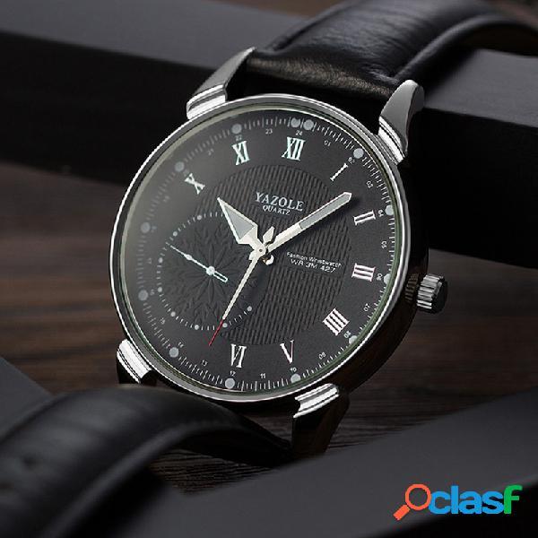 Relógio de quartzo de couro de aço inoxidável de relógio de quartzo impermeável luminoso na moda