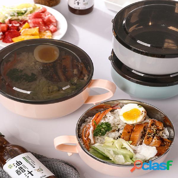 Aço inoxidável instantâneo macarrão tigela dormitório instantâneo estilo japonês sopa almoço caixa talheres