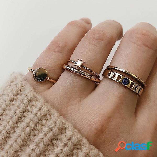 Anéis de metal do vintage geométrica set rodada estrela oco rhinestone knuckle anéis jóias na moda