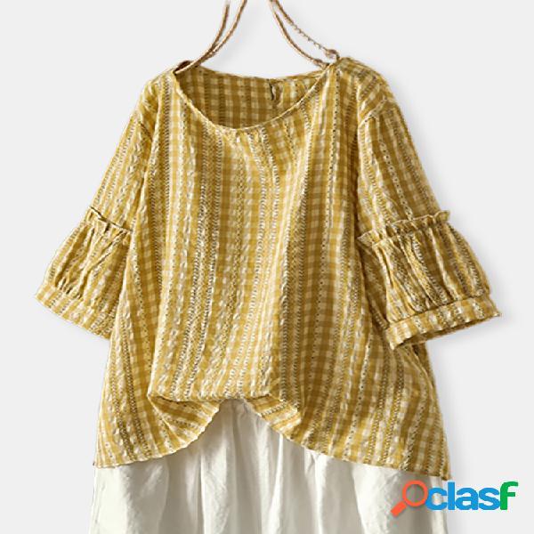 Blusa tamanho plus manga bolha xadrez jacquard
