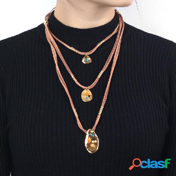 Bohemian multi-camada geométrica pingente colares irregular slice trançado corda colar para as mulheres
