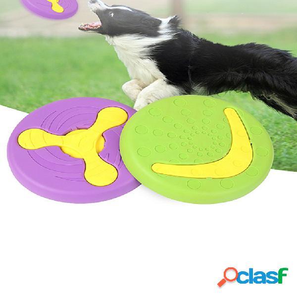 Borracha pet frisbee cachorro brinquedo pode alimentar cachorro lado tigela pecuária de treinamento de animais frisbee