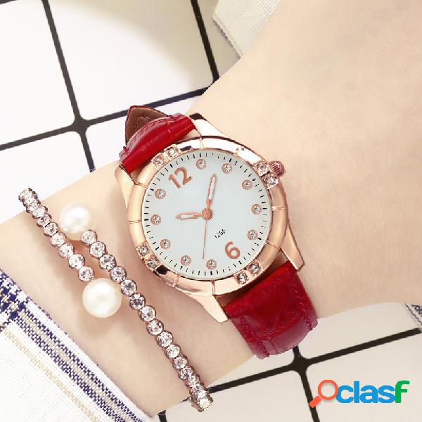 Diamantes elegantes design mulheres armbandsur lysande display quartz watch