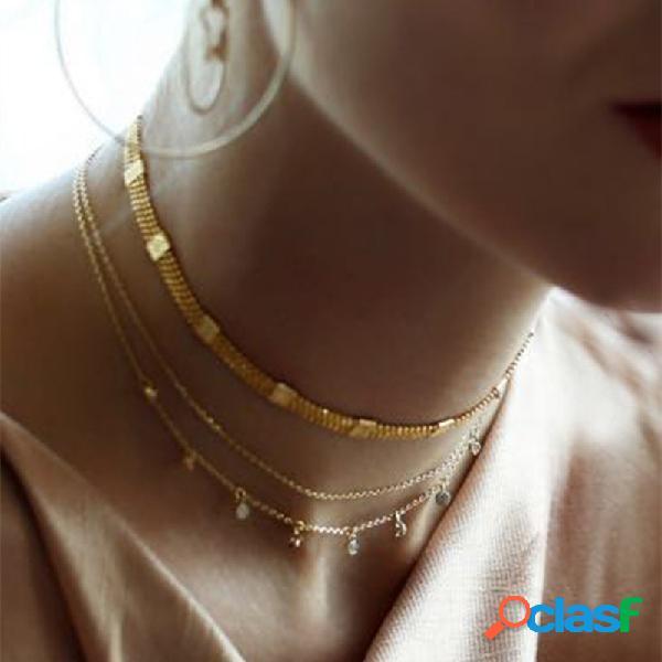 Étnica rhinestone tassel pingente colar de corrente de metal conexão encanto colar boêmio jóias