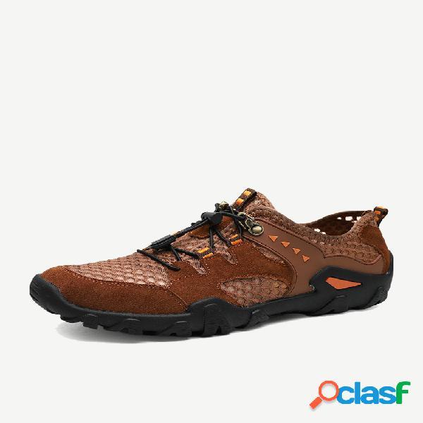 Tênis casual para caminhada em tecido de malha antiderrapante elástico masculino