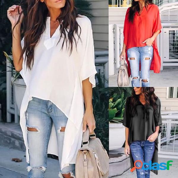 Venda quente cor sólida com decote em v longo camisa feminino manga morcego irregular camisa