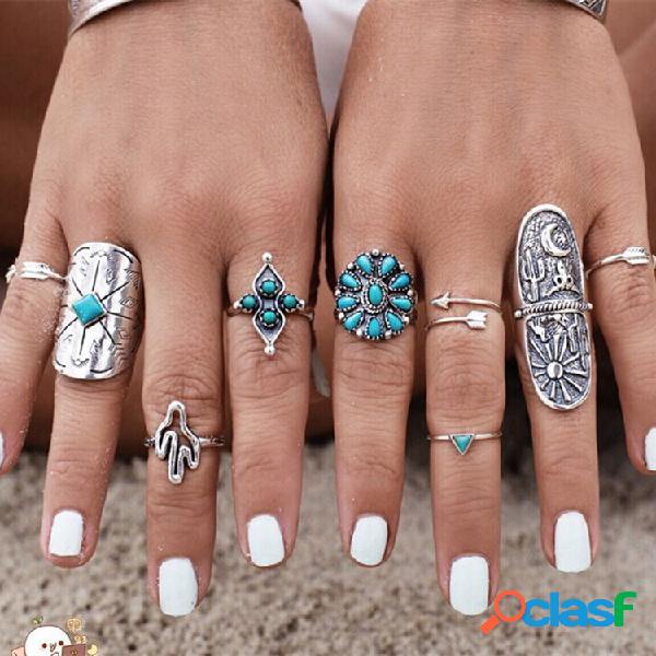 Boêmio turquesa anel de dedo ímã do vintage esculpida geométrica totem ring kit jóias étnicas