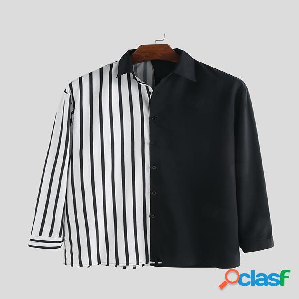 Camisetas masculinas stripe hit color patchwork stylelish casual manga longa