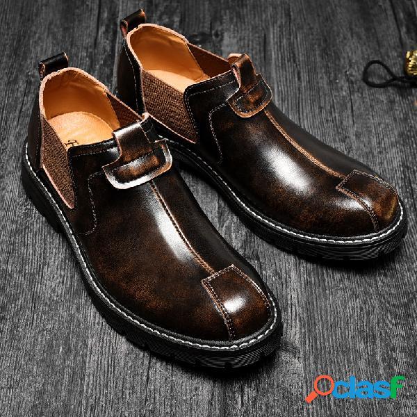Homens retro cor antiderrapante slip-ons soft sola botas de couro casual