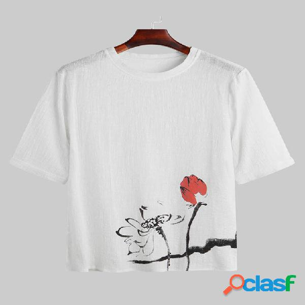 Masculino summer elegant flower padrão impresso camiseta casual manga curta