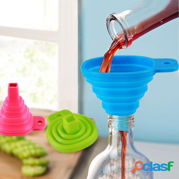 Silicone mini-líquido de enchimento dobrável óleo filtro de ferramentas de cozinha de funil de água