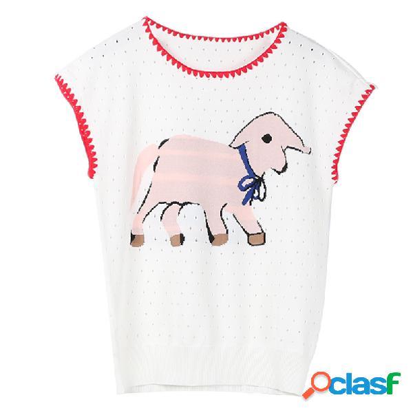 Ternos femininos mangas curtas contraste de cor listrado elefante bordado fino em torno do pescoço de malha tops em estoque