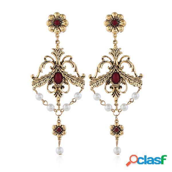 Vintage geométrica oco longa brincos flor pérola strass pingente brincos jóias na moda