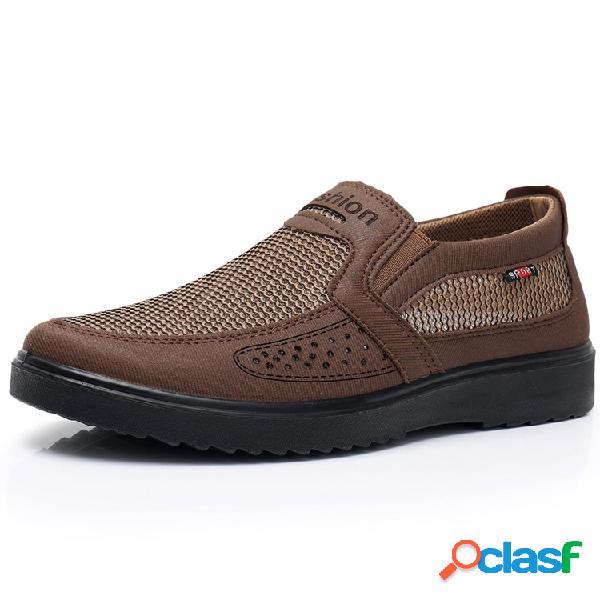 Homens old peking estilo malha respirável confortável soft deslizamento em sapatos casuais