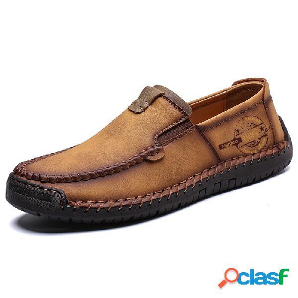 Menico homens mão costura de couro não-deslizamento grande tamanho deslizamento em sapatos de condução casual