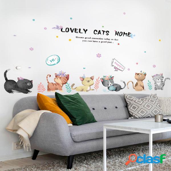 Miico gato pintado à mão adesivo de parede quarto das crianças do jardim de infância adesivos decorativos adesivo diy