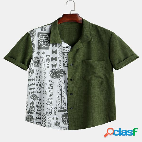 Algodão masculino patchwork bolso com abertura para baixo manga curta camisa