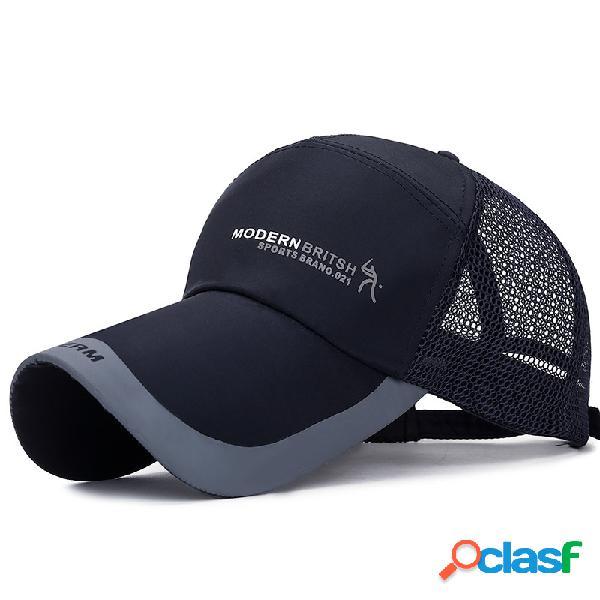 Homens mulheres verão de secagem rápida de malha boné de beisebol esporte ao ar livre respirável chapéu