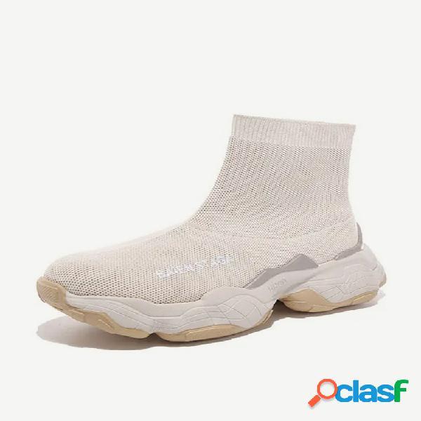 Novos sapatos com meias elásticas botas femininas com meias selvagens grossas, casuais, cano alto esportivo, tênis feminino, vermelho