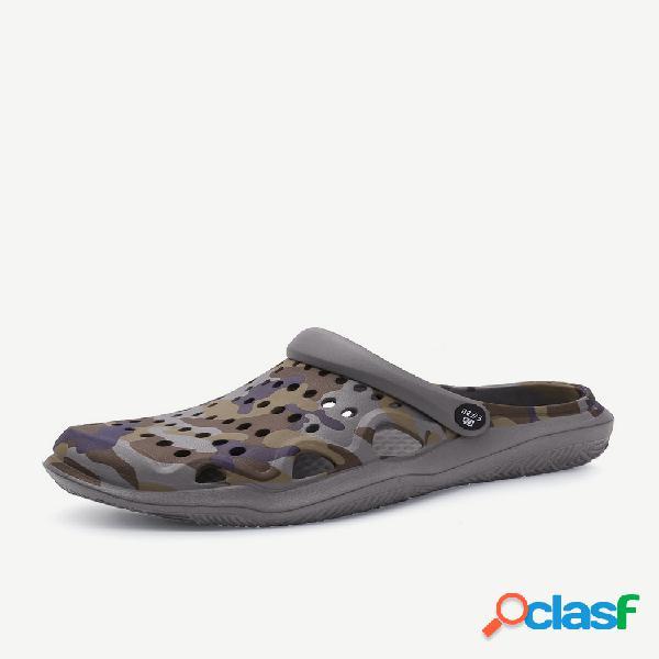 Temporada nova sandálias e chinelos ocos de sola grossa pares modelos praia sapatos leves antiderrapantes sapatos de tamanho grande buraco masculino